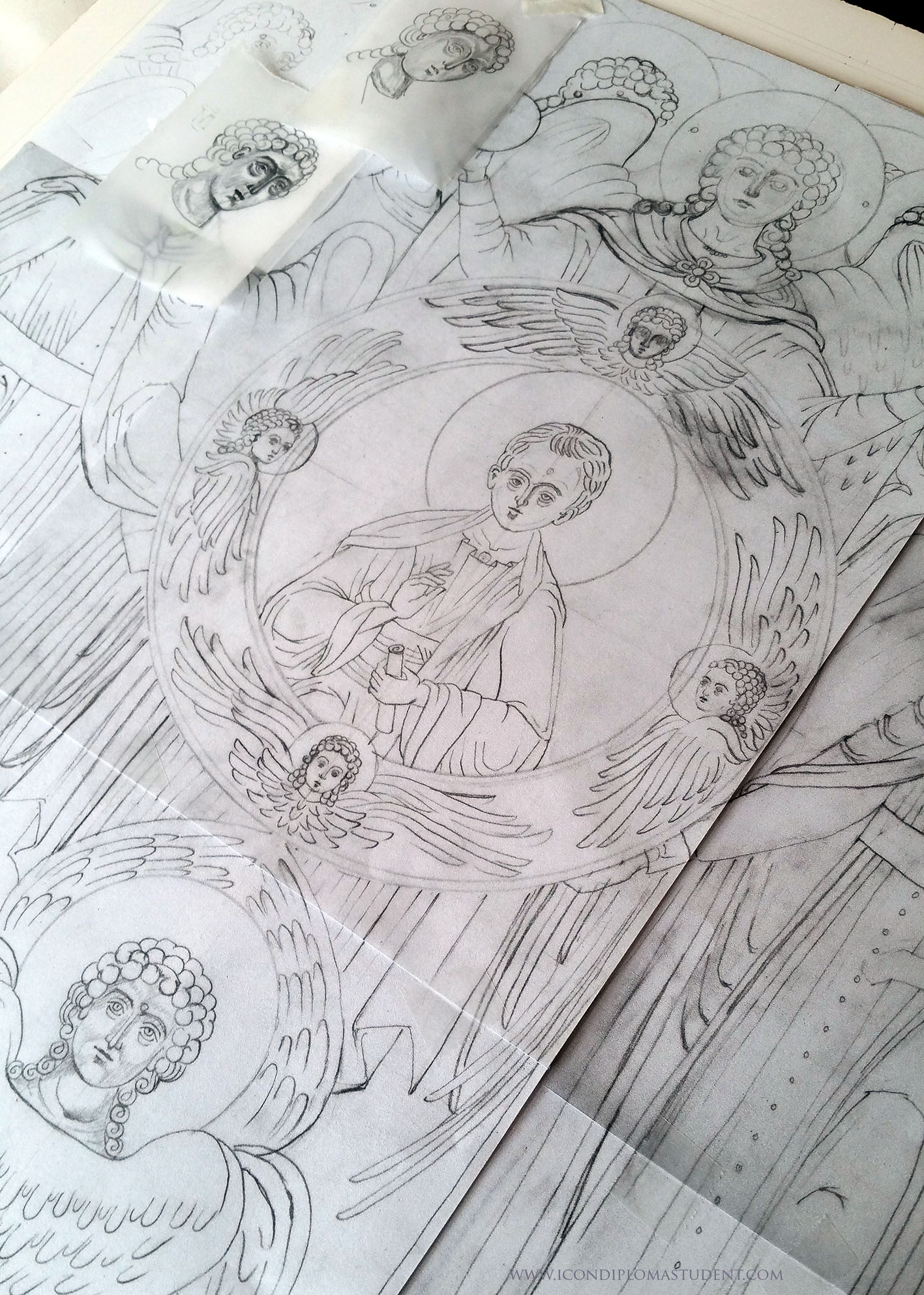 pencil drawing of Council of Angels