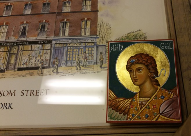 Icon of Archangel gabriel resting on pic of Blossom Street