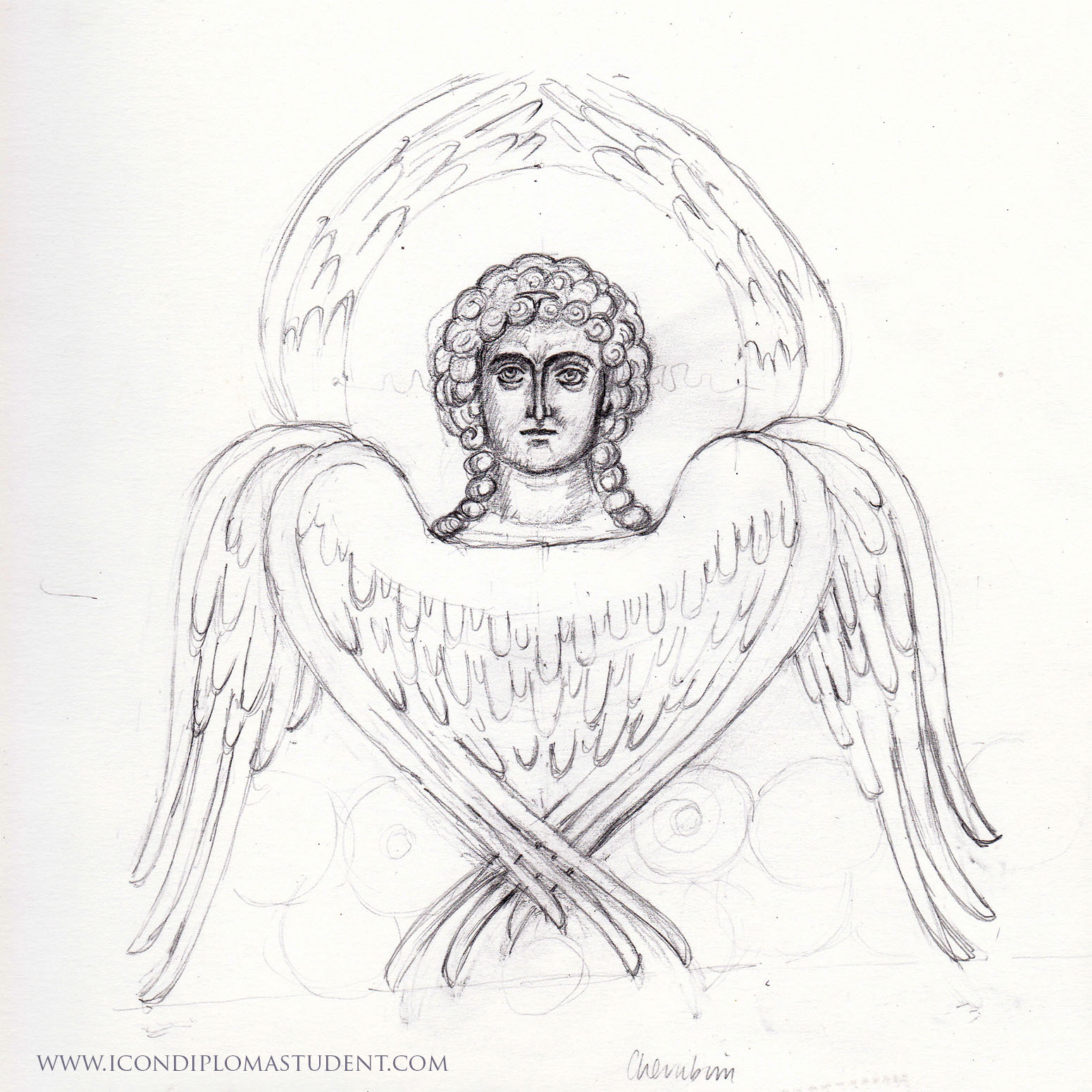pencil drawing of cherubim