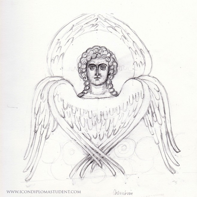 pencil drawing of cherubim
