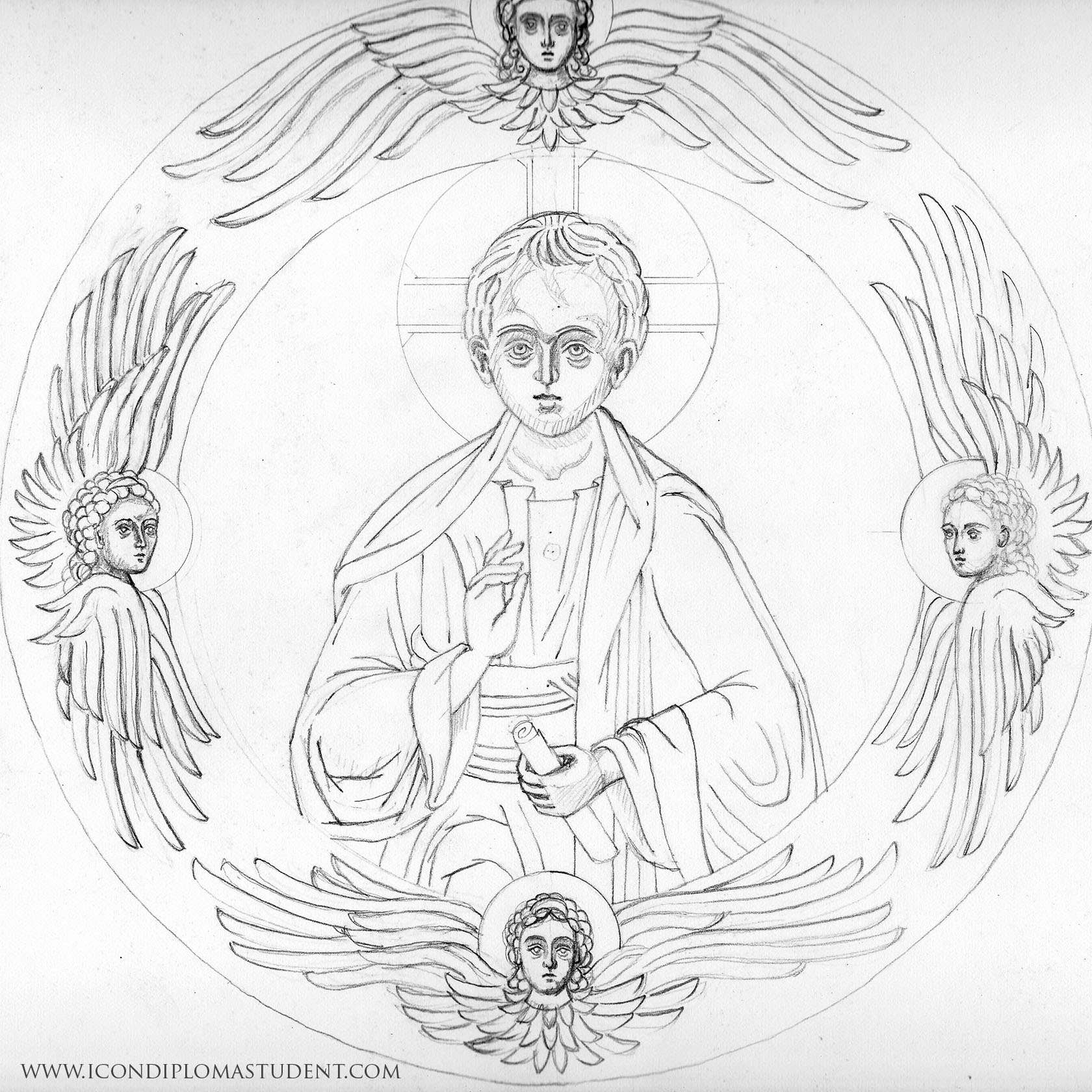 pencil drawing of young christ and seraphim