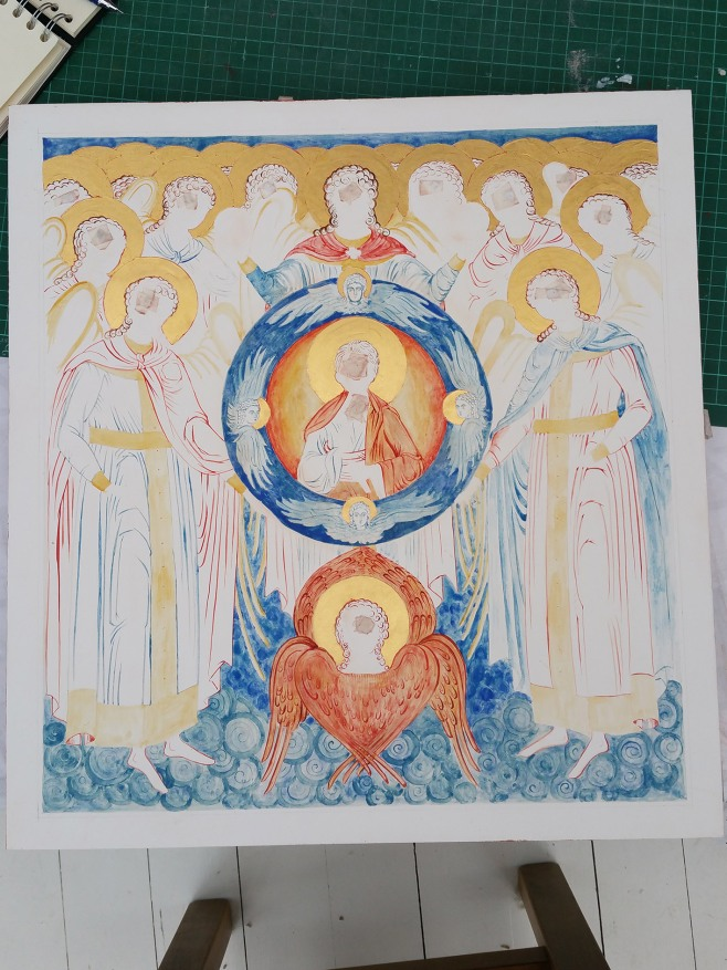 underpainting icon of Council of Archangel Michael