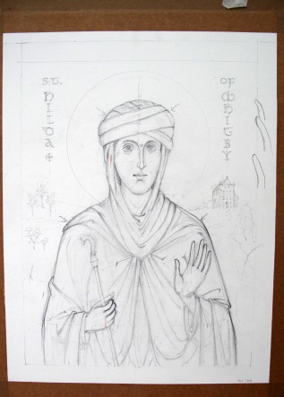 Outline drawing of St Hilda for an icon