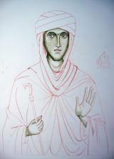 St Hilda Underpainting on gessoed board
