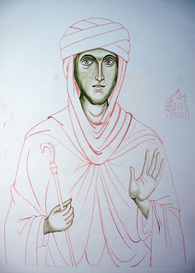 St Hilda Underpainting on gessoed board